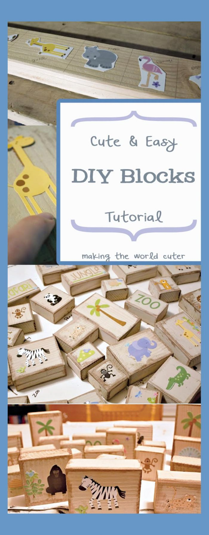 This is such a good idea! Make a set of super cute DIY Blocks for gifts for your kids! These would also be great to keep on hand for baby showers, birthday parties and you could even let the kids help make presents for their friends or siblings!
