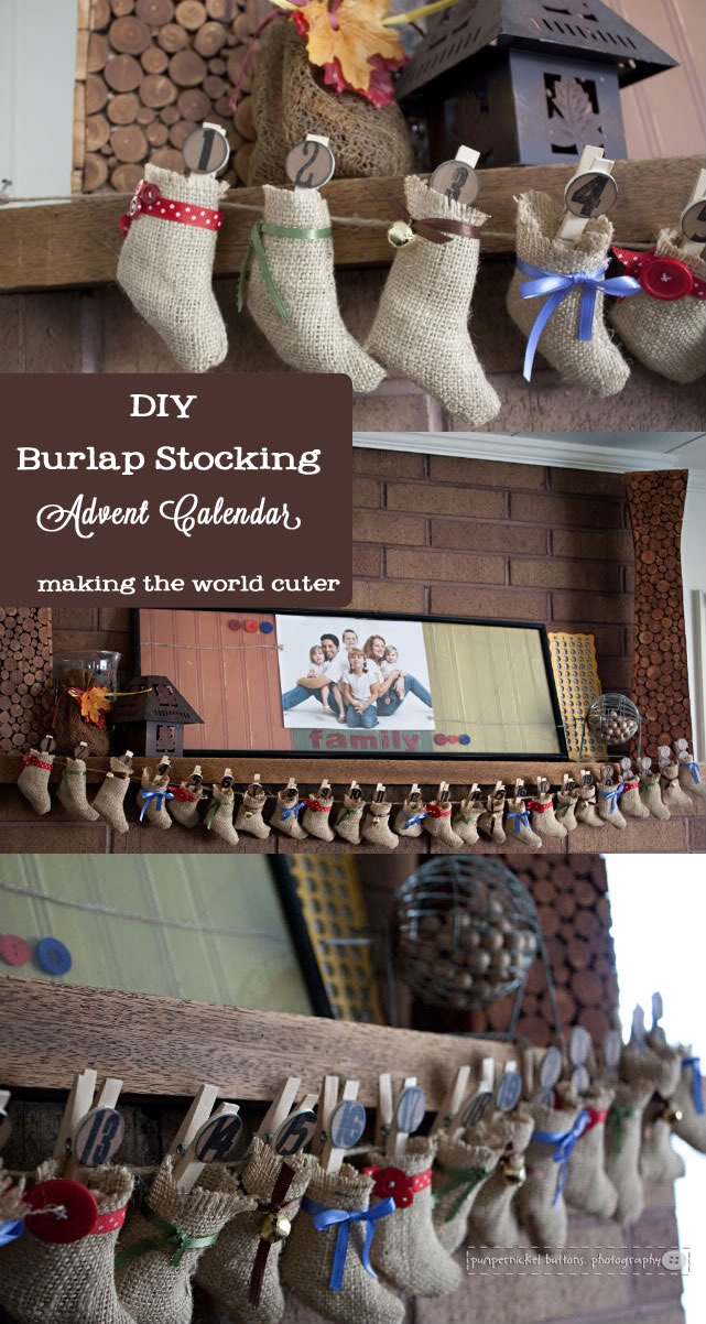 DIY Burlap Stocking Advent Calendar | Making the World Cuter
