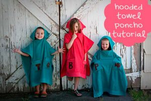 CUTE Hooded Towel Poncho