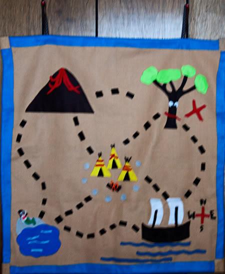 Book Cover Craft Map ~ Felt treasure map diy neverland inspired play mat for kids