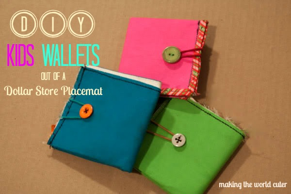 How to Make Wallets for Kids…out of a Dollar Store place mat!