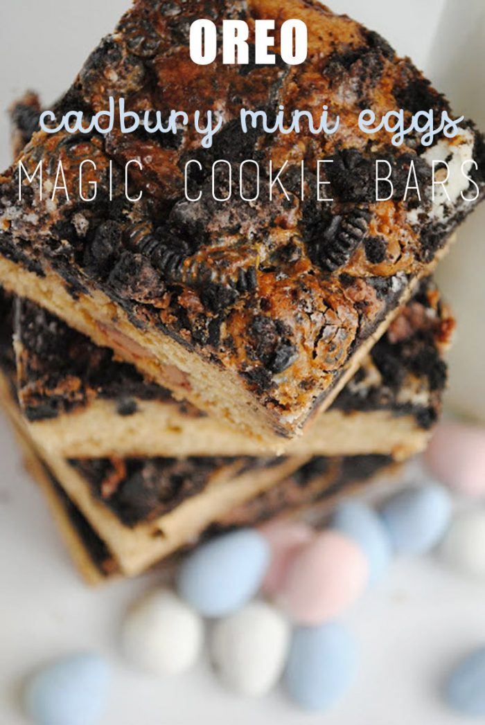Oreo and Cadbury Eggs Magic Bars
