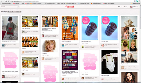 Screen Shot of blog posts on Pinterest