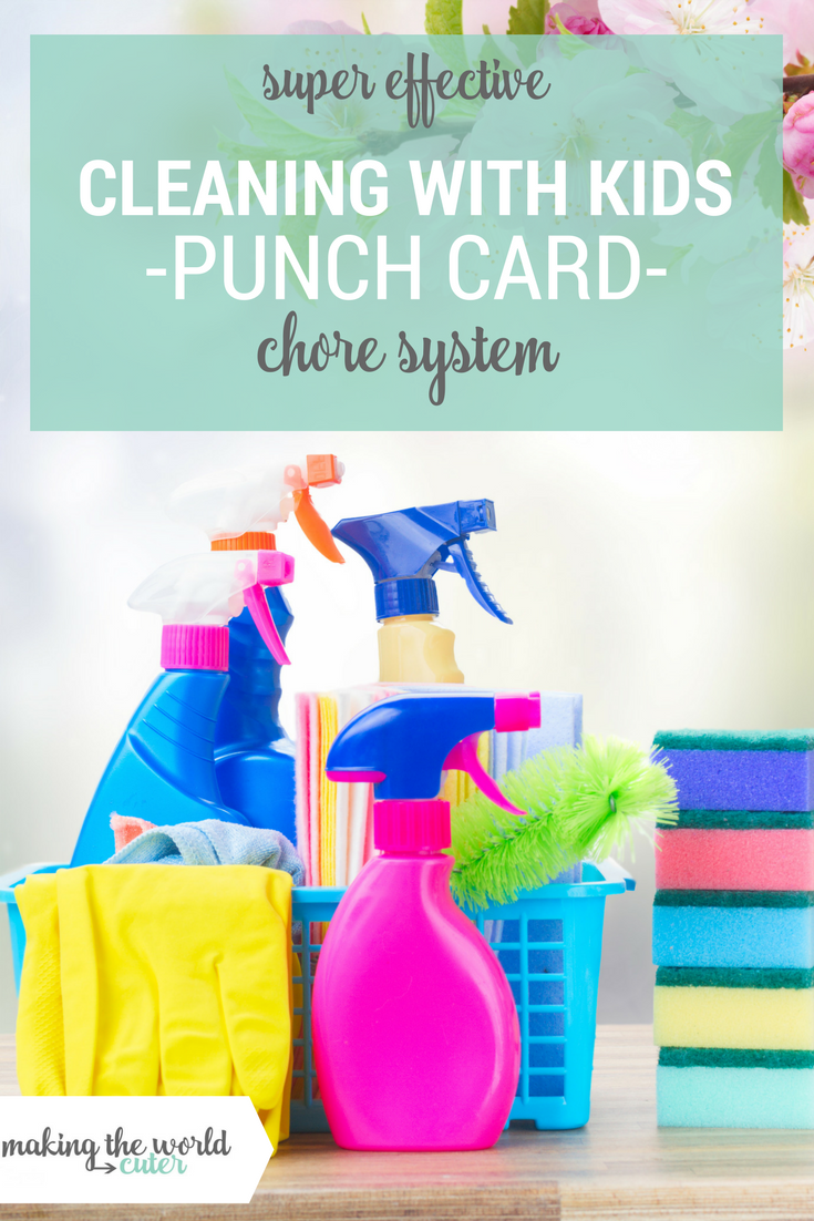 Cleaning the house with kids punch card chore system