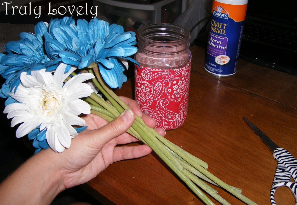 making a patriotic centerpiece with flowers