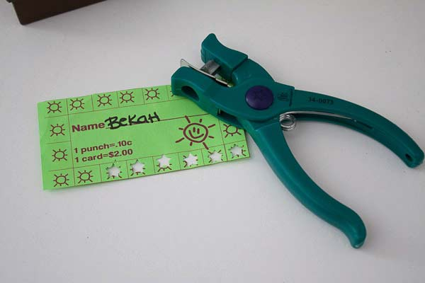 Chore Punch Cards for cleaning the house with kids