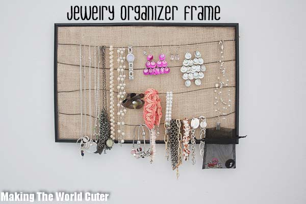 DIY Jewelry Organizer-Cute and Easy. Frame, Burlap & Wire