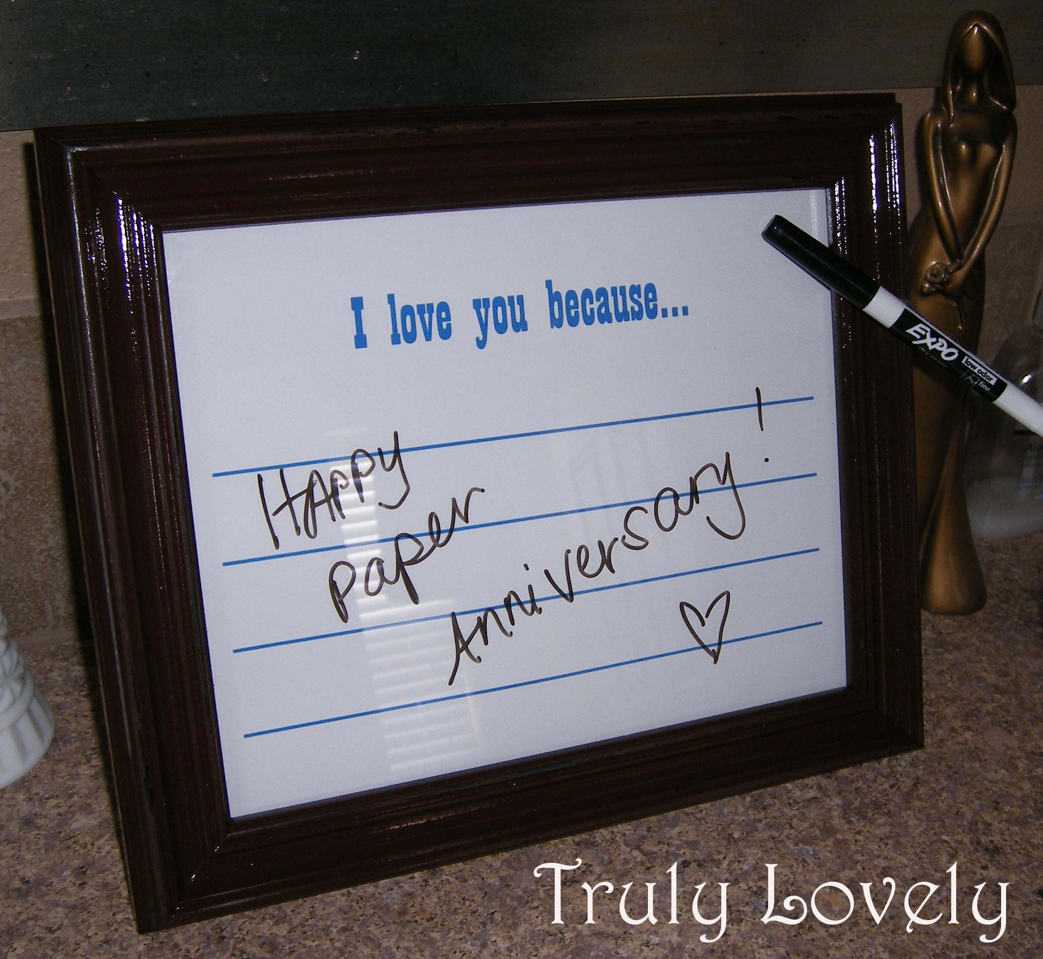 "Diy Wedding Anniversary Gifts: DIY Frame, ""I Love You Because"" Anniversary Present"