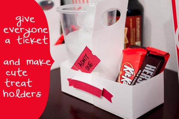 movie night tickets and treat holders