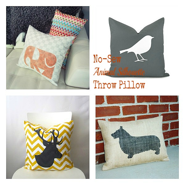 Adorable no sew animal silhouette throw pillows. Easy update project! DIY Pinterest