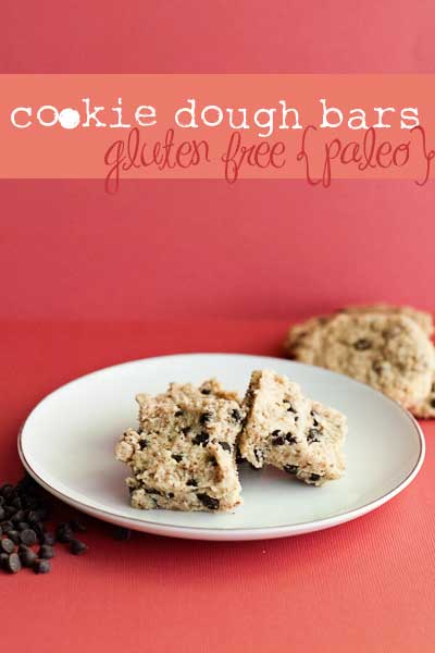 Delicious Paleo Cookie Dough Bars, no grains, no eggs, just tasty!