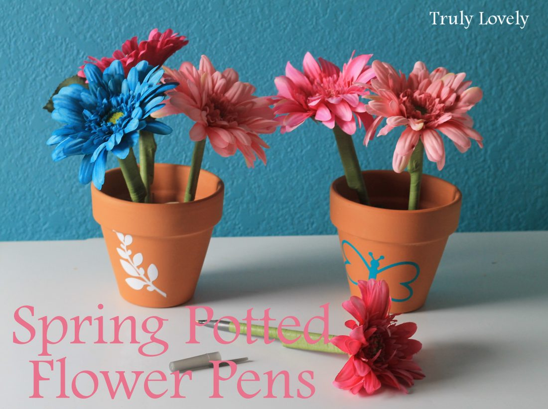 spring craft idea flower pens in a spring pot