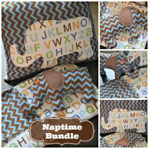 Sew a naptime bundle with a blanket, stuffed elephant and pillow. A perfect gift!