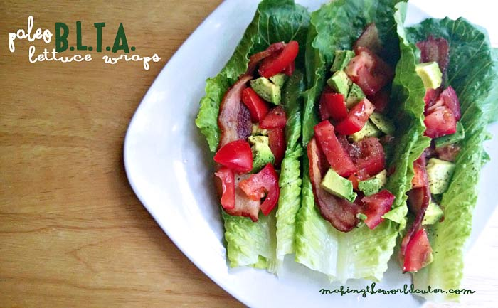 Paleo BLTA Lettuce Wraps. Easy, yummy lunch! Making the World Cuter
