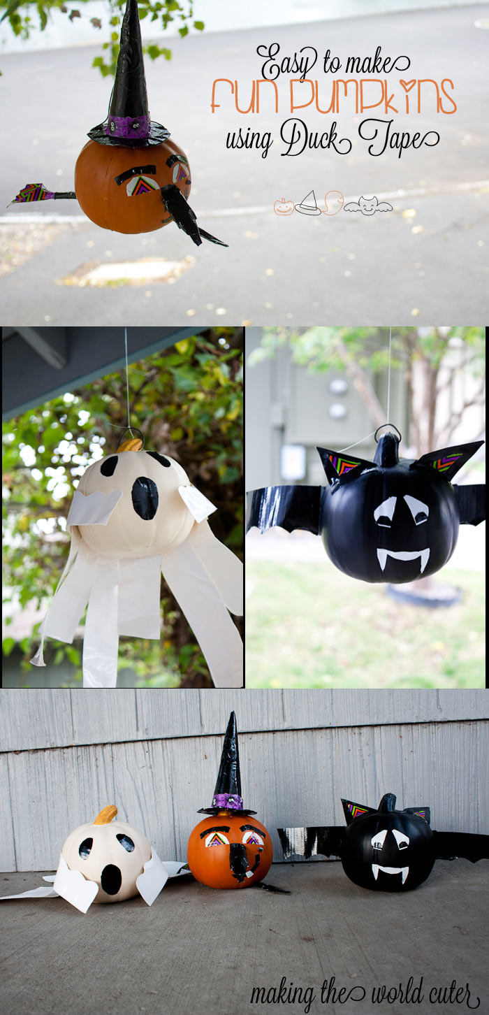 Easy Pumpkins Using Duck Tape | Bat, Witch and Ghost on Making the World Cuter #StickOrTreat