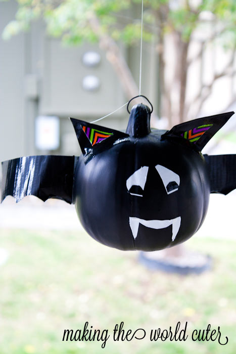 Bat Pumpkin using Duck Tape on Making the World Cuter #StickOrTreat