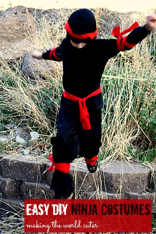 Easy diy ninja costume easy diy ninja costume last minute costume idea also super easy way to make solutioingenieria Image collections