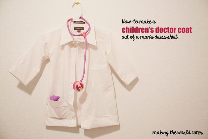 Diy childrens doctor costume how to make a childrens doctor coat out of a mans dress shirt solutioingenieria Images