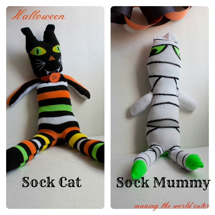 Halloween Sock Cat and Sock Mummy