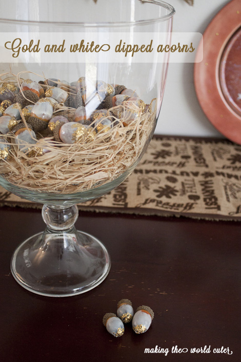 White and Gold Acorns Tutorial on Making the World Cuter. Perfect Thanksgiving centerpiece that can last into Christmas!