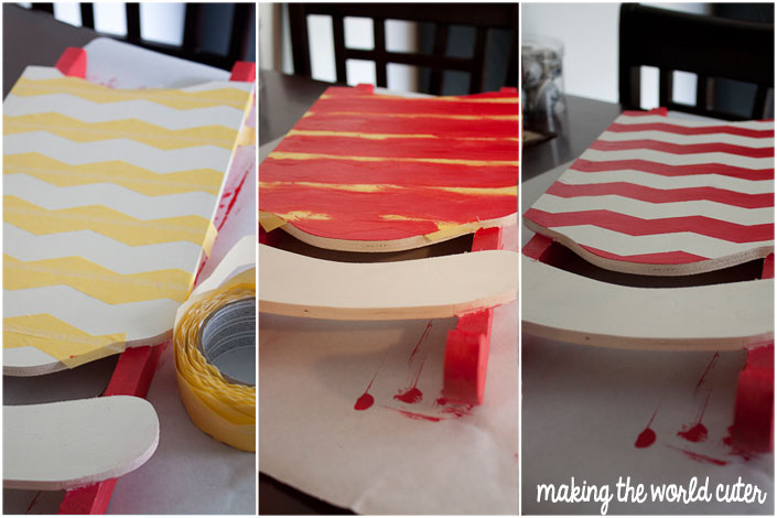 Adding chevron stripes to Christmas sled decoration | Making the World Cuter