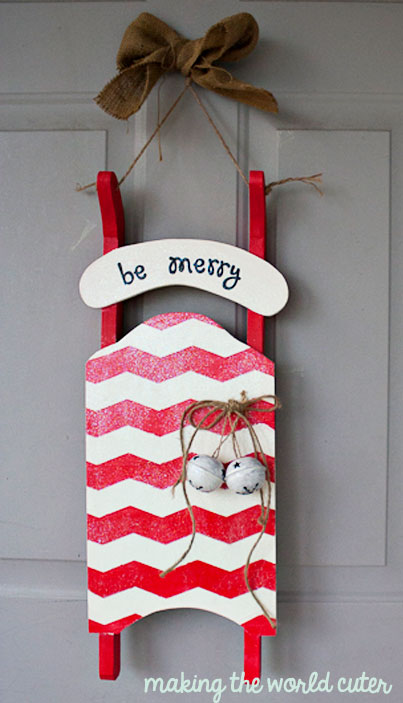 Be Merry! Christmas sled decoration using Mod Podge Glitter | Making the World Cuter