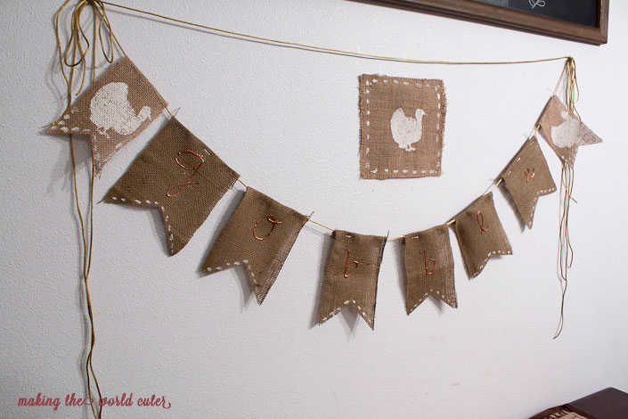 """""""Gobble"""" Thanksgiving Banner made of burlap on Making the World Cuter"""