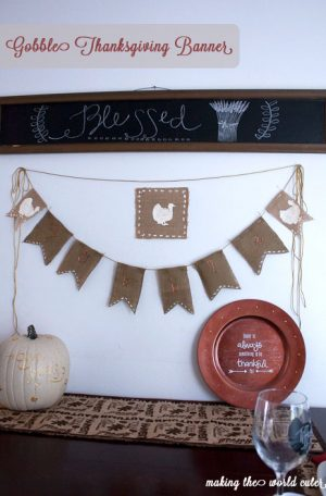 """Gobble"" Thanksgiving Banner made of burlap on Making the World Cuter"