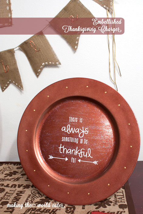 Glittery Thanksgiving Charger from Making the World Cuter
