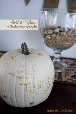 "White and Gold Pumpkin, ""Give Thanks!"" Fall, Thanksgiving decoration on Making the World Cuter"