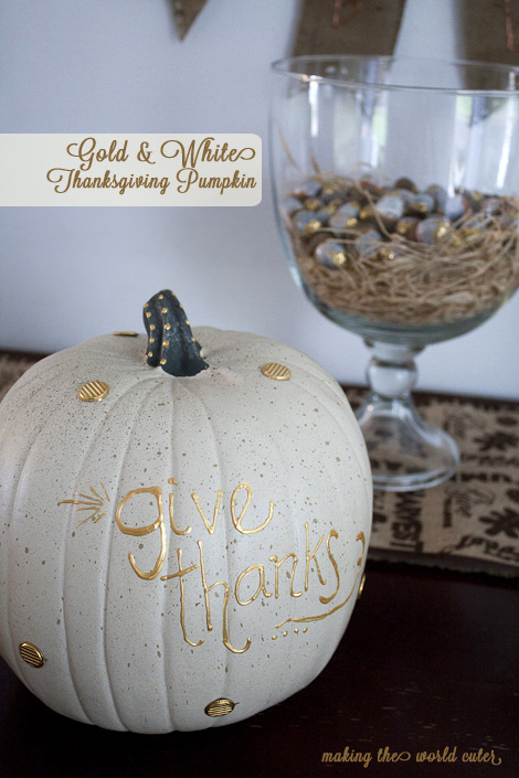 White And Gold Pumpkin Thanksgiving Decoration