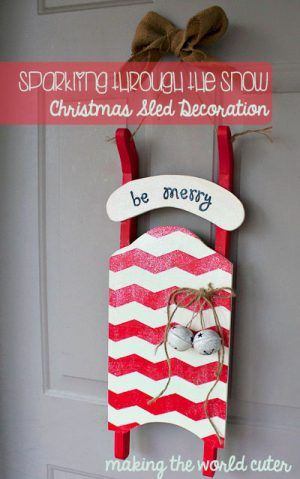 Mod Podge Glitter Christmas sled Decoration | Making the World Cuter