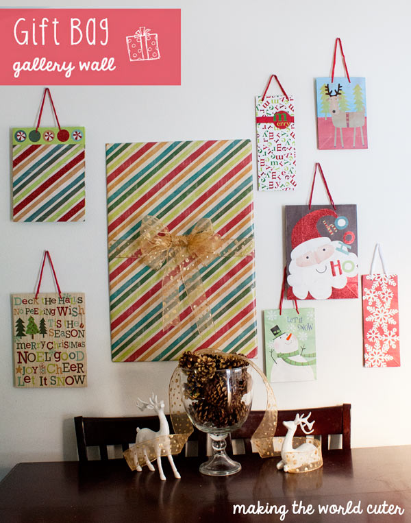 Making the World Cuter Gift Bag Gallery Wall Decor for Christmas! Brilliant! Just hang up cute gift bags for an inexpensive and #fabulouslyfestive way to decorate!