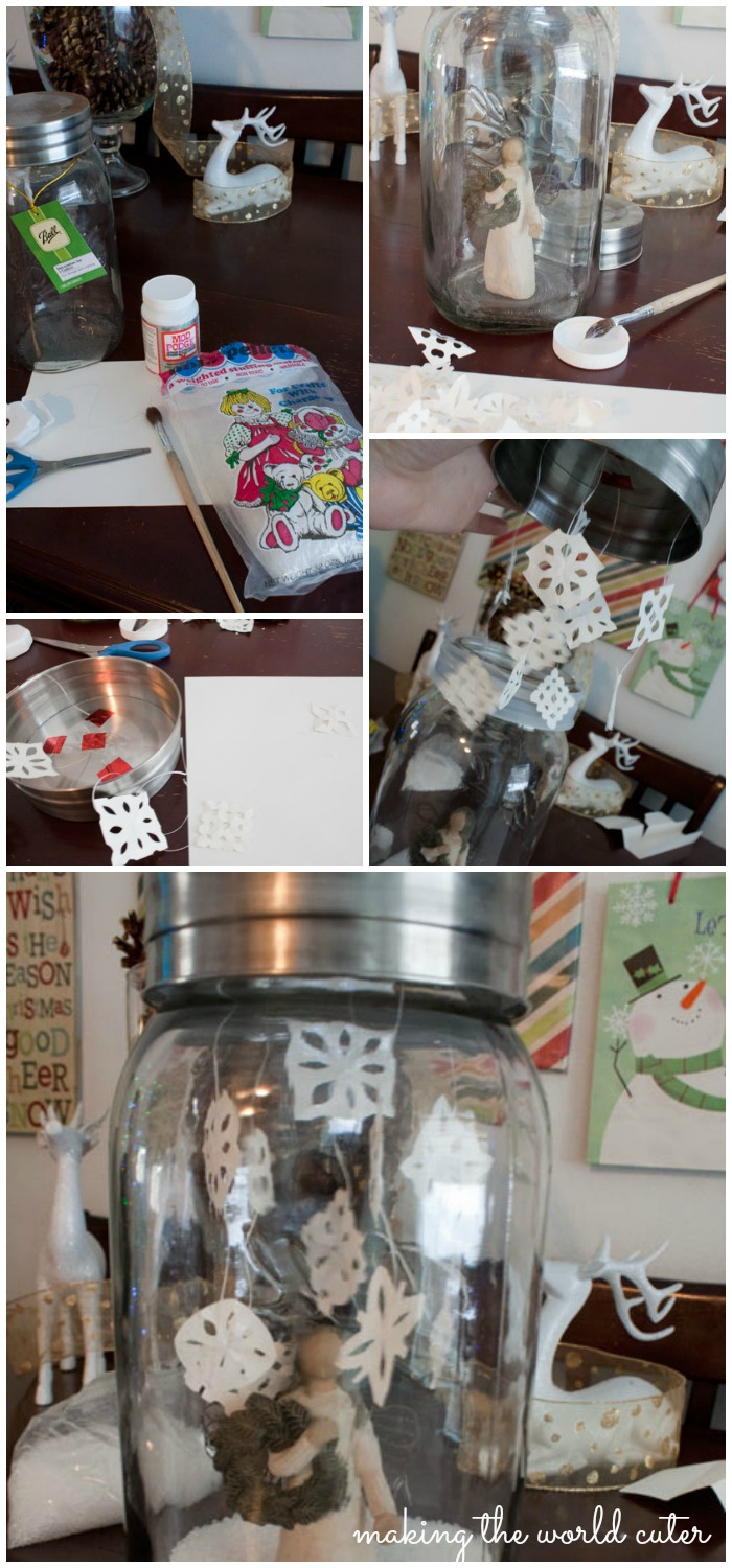 How to make a GIANT faux mason jar snowglobe. #fabulouslyfestive Making the World Cuter
