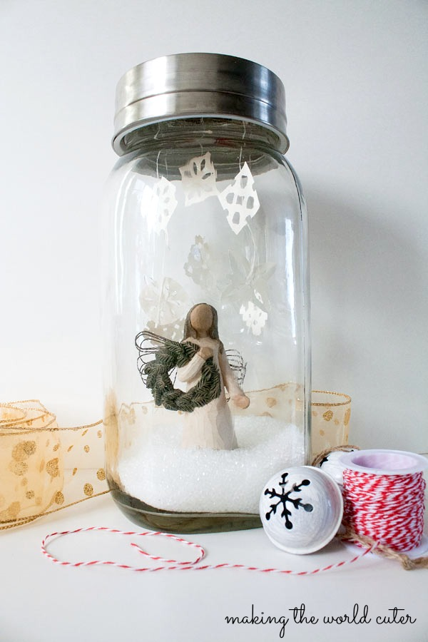 GIANT faux mason jar snowglobe. #fabulouslyfestive Making the World Cuter