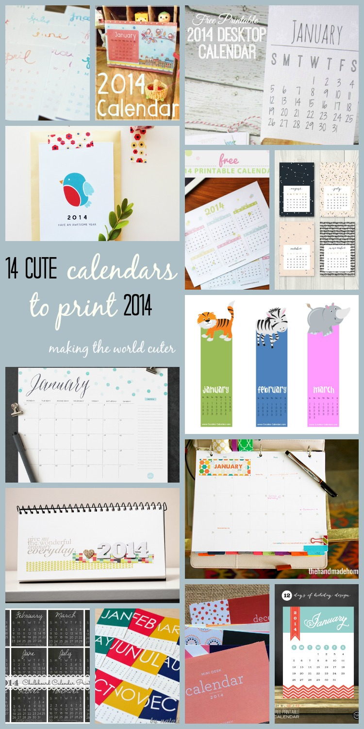 14 CUTE and FREE Calendars to print for 2014 | Making the World Cuter #calendars #print #2014
