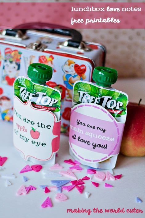 Making the World Cuter Lunchbox Love Notes. Free Printables, would be cute around applesauce pouches or a juice box! Perfect for any day, but would be great for Valentine's day for the kids class too! Cute!