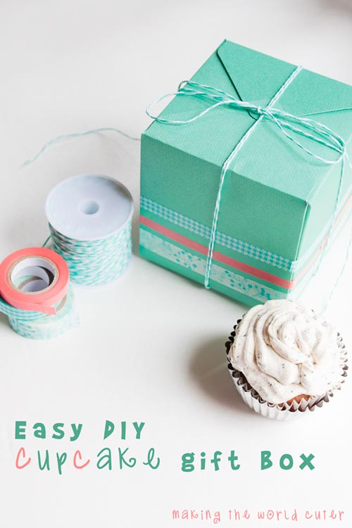 DIY Cupcake Gift Box Using We R Memory Keepers Punch Board And Washi Tape Dispenser
