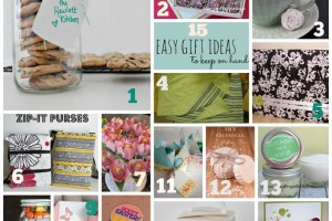 15 Easy Gift Ideas to keep on hand. I love getting cookies in a mason jar!