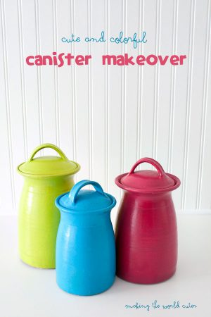 Amazing Kitchen Canister Makeover. These are so cute and colorful! Such an improvement over what they were before.