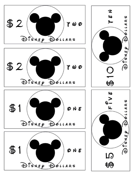 graphic about Disney Dollars Printable referred to as Disney Money Printable