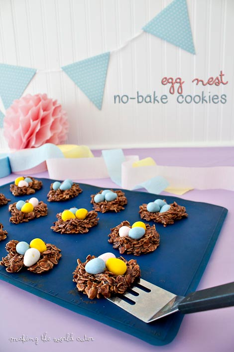 Making the World Cuter No Bake Egg Nest Cookies! So adorable!