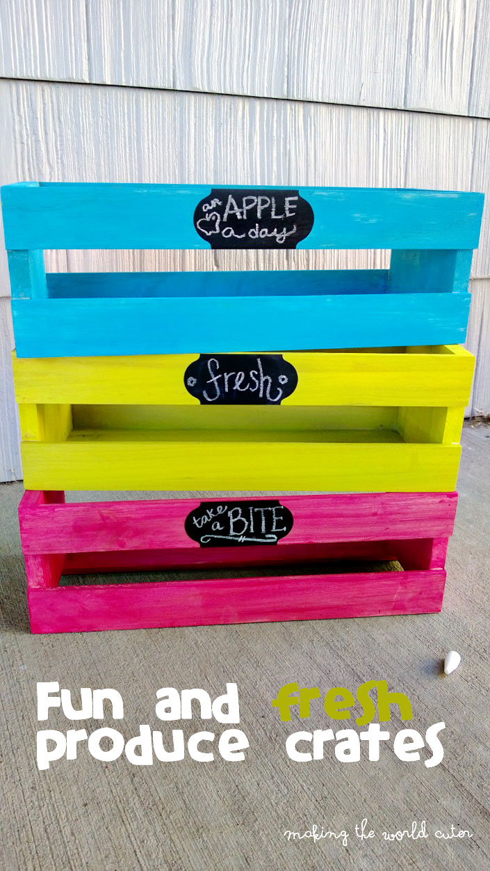 Fresh and Colorful Produce Crates out of $5 CD crates found at any craft store! So cute and clears up counter space!