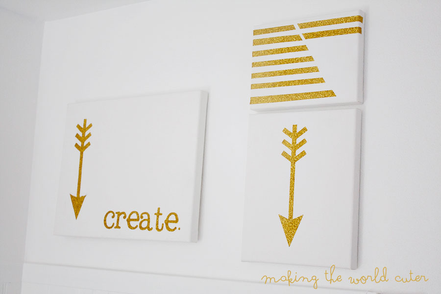 Making the World Cuter. Love these! Use heat transfer glitter vinyl on canvas's to make super cute wall art easily.
