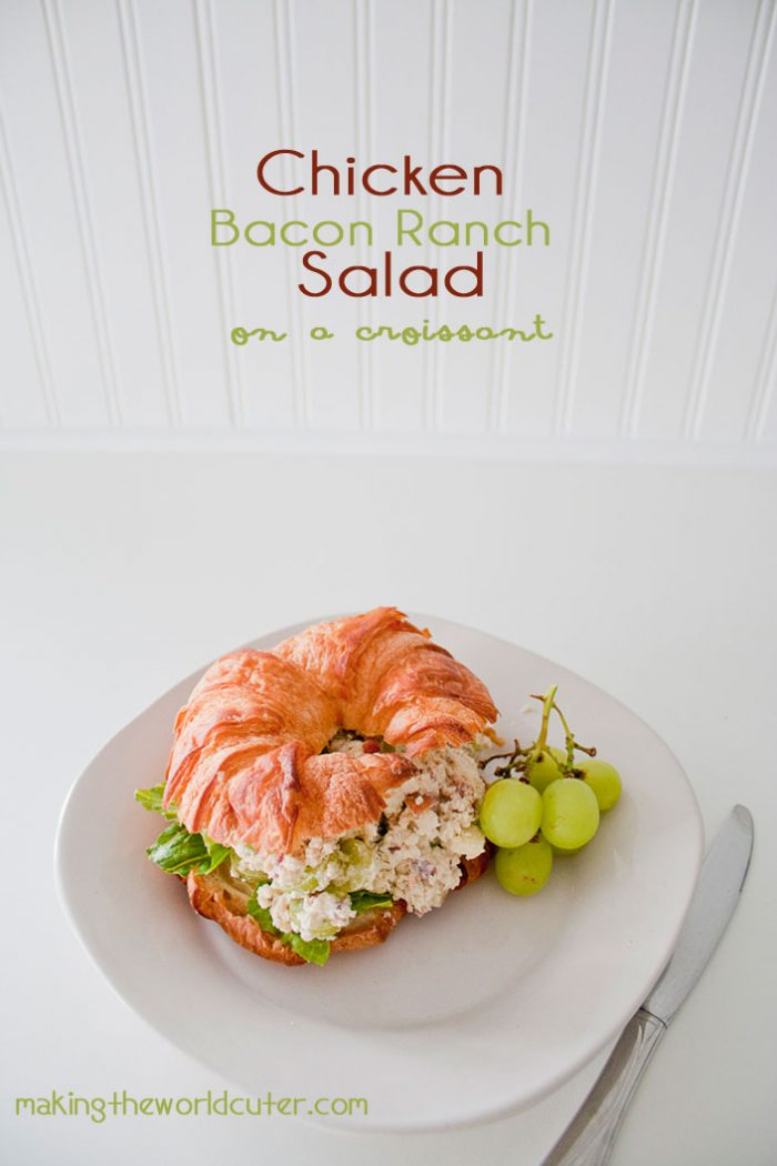 Chicken Bacon Ranch Salad on a Croissant. YUM! makingtheworldcuter.com