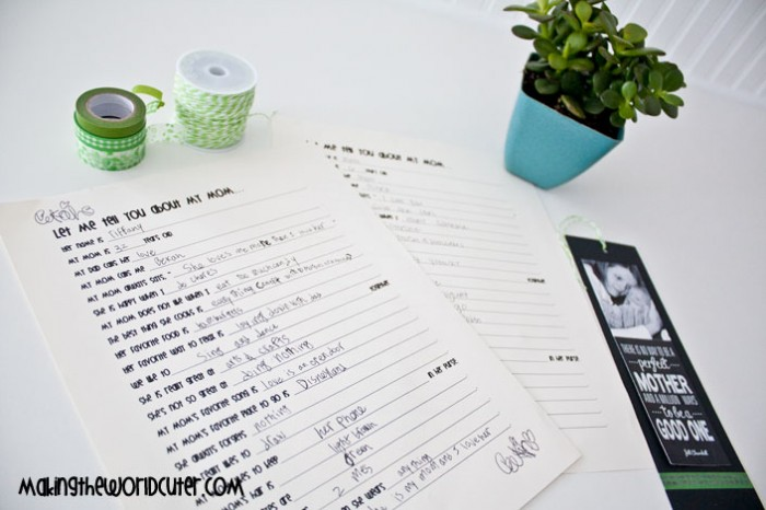 "Mother's Day Printable Kids Interview Questions ""Let Me Tell You About My Mom..."" and one for Grandma too! makingtheworldcuter.com"