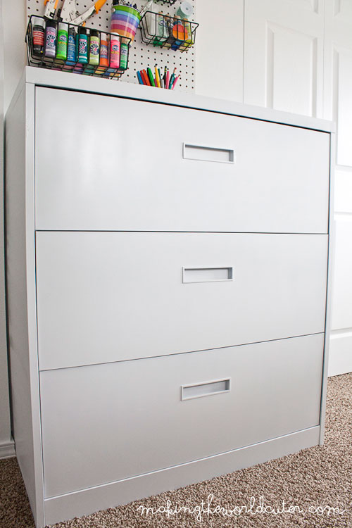 CUTE filing cabinet makeover! Love the flat white vs. the glossy stuff. makingtheworldcuter.com