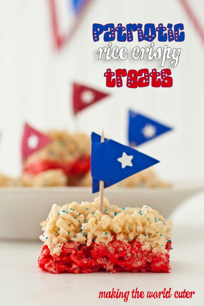 Patriotic Rice Crispy Treats. Easy and cute dessert to bring for the Fourth of July or Memorial Day. makingtheworldcuter.com