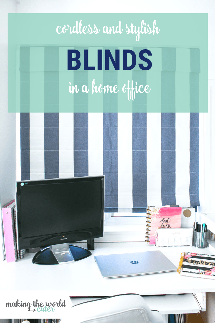 Cordless, Stylish and Cute Window Blinds in a Home Office