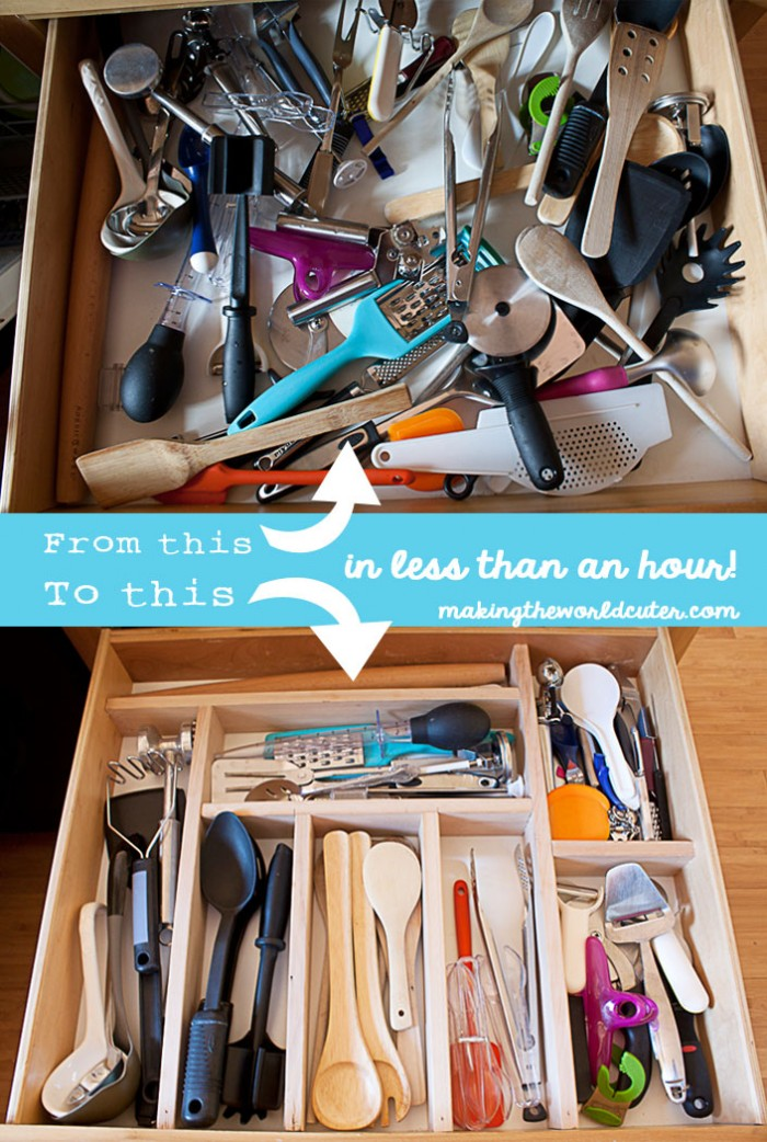 DIY Utensil Organizer. In less than an hour put this together and feel sane when opening that dreaded drawer! LOVE this! makingtheworldcuter.com
